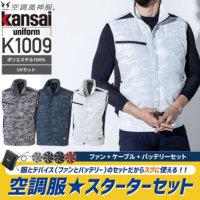 【服とデバイスセット】大川被服 K1009 空調風神服 カモフラベスト(ポリエステル100%)